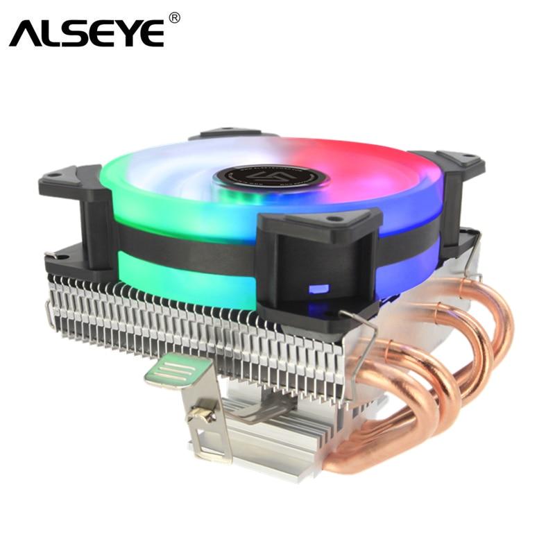 ALSEYE nuevo llegal cpu cooler 4 tubos de calor disipador cpu y ventilador pc 90mm 4 pines PWM CPU para equipo Proccesor LGA 1155/775/AM3/AM4