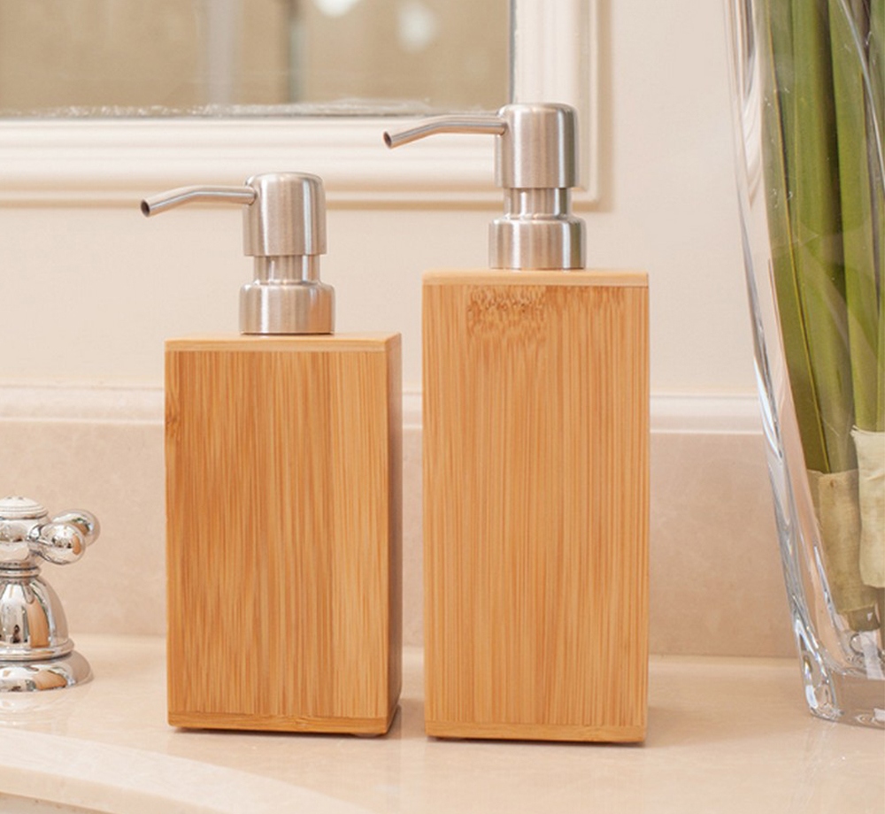 High Quality Exquisite Wood Hand Washing Liquid Stainless Steel Pressure Mouth Shower Bottle Kitchen Hotel Soap Dispenser LFB266