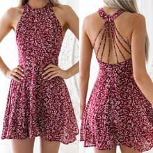 Женское летнее Короткое мини платье в стиле бохо вечерние пляжные