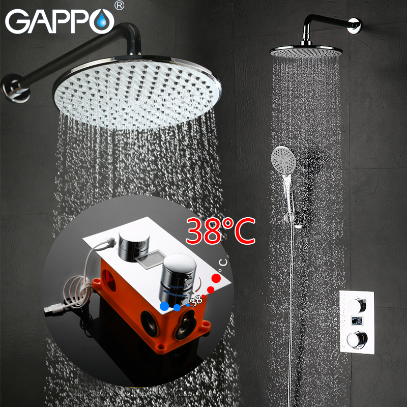 GAPPO Wall Mount bathroom thermostat shower LCD Digital bath shower faucet tap waterfall thermostatic mixer taps shower system free shipping polished chrome finish new wall mounted waterfall bathroom bathtub handheld shower tap mixer faucet yt 5333