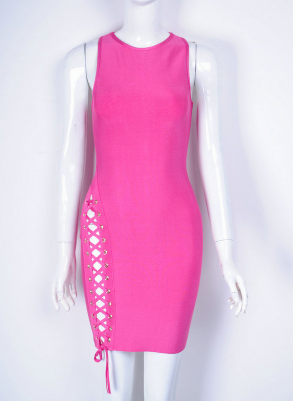 Top Quality Sleeveless Pink Weaving Open Fork Bodycon Rayon Bandage Dress Cute Party Dress