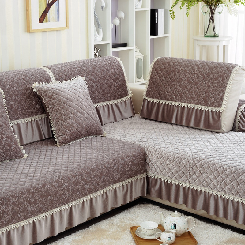 Us 12 83 45 Off 1pc Lace Decorative Purple Sofa Towel Sectional Covers Modern Camel Seat Slipcover Cushion Couch Cover Home Decor Many Size In