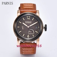 Military 44mm Parnis coffee dial luminous hands power reserve rose golden case ST 2530 automatic movement Men's watch
