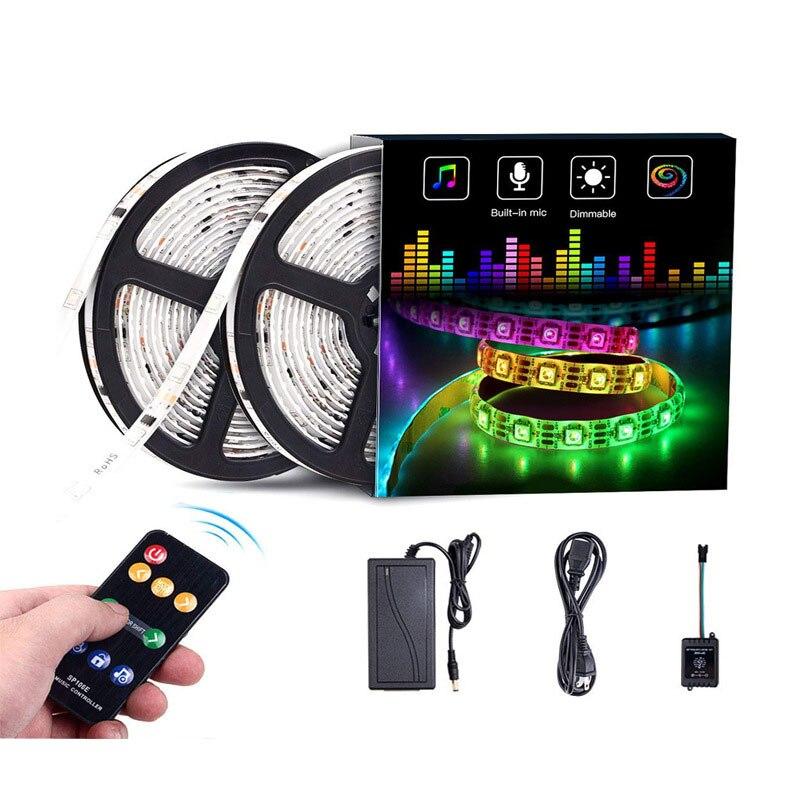 Kit amélioré de lumières de bande de 2019 LED 16.4ft avec la bande de 3 M 150 LED s SMD 5050 RGB lumière Flexible changeante bandes d'éclairage multicolores