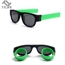 TTLIFE Sunglasses Polarized Women Slappable Bracelet Sun Glasses for Men Wristband Fold Shades Green Fashion Mirror Creative