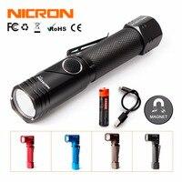 NICRON 미니 트위스트 LED 손전등 방수 IP65 USB 충전식 배터리 울트라 밝은 LED 480 루멘 토치 야외 B74