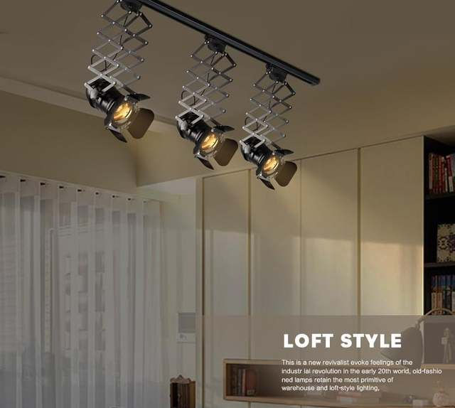 Us 66 75 25 Off Vintage Track Lighting Fixture Loft Rh Rural Lift Ceiling Lamp Bar Clothing Retro Absorb Dome Light Without E27 Bulb In