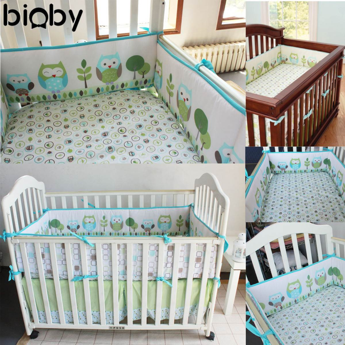 Crib protector for babies - 4pcs Cute Owl Baby Infant Cot Crib Bumper Safety Protector Toddler Nursery Bedding Set Cushion Pad