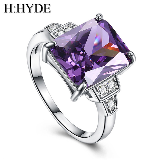 H:HYDE Weddings/bride Pink Large CZ Stone jewelry Silver Color Rings charming la