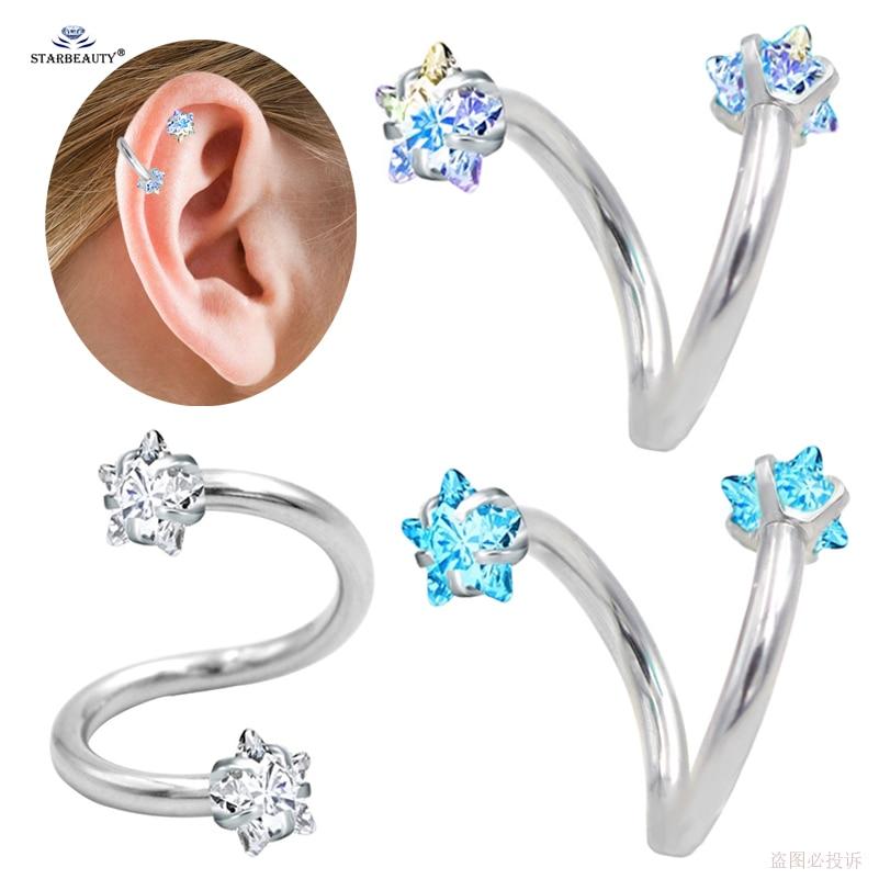 1 2 8mm S Gem Star Tragus Piercing Helix Piercing Oreja Cartilage Earrings Stainless Steel Labret Ear Piercing Orelha Jewelry