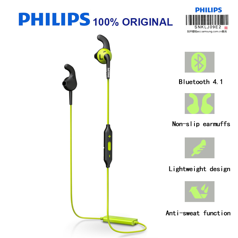 Philips SHQ6500 Original Bluetooth Wireless Earphone Sport Waterproof Earphone With Microphone For Phone And Music Official