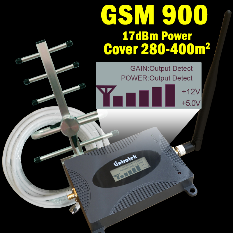 New 16dBm LCD Display GSM 900mhz Signal Booster GSM 900 65dB Cell Phone Cellular Signal Repeater Amplifier + GSM Yagi Antenna 39