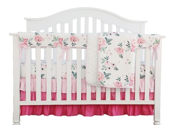 Pink Floral Ruffle Baby Minky Blanket Water color, Pink Floral Nursery Crib Skirt Set Baby Girl Crib Bedding (4 pieces set) фото