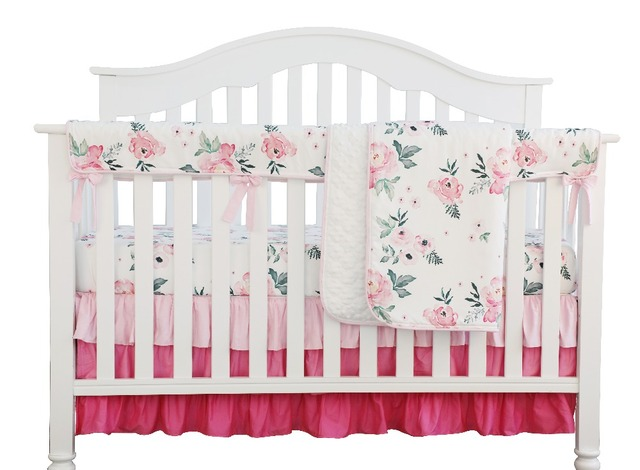 405161d155b86 US $16.0 20% OFF Aliexpress.com : Buy Pink Floral Ruffle Baby Minky Blanket  Water color, Pink Floral Nursery Crib Skirt Set Baby Girl Crib Bedding (4  ...