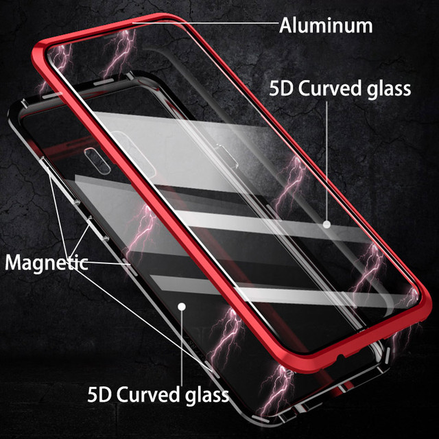 Front & Back 5D Curved Glass Case for for Samsung Galaxy S9 Plus / S9 Note 9 Magnetic 360 Full Body Aluminum Metal Cover