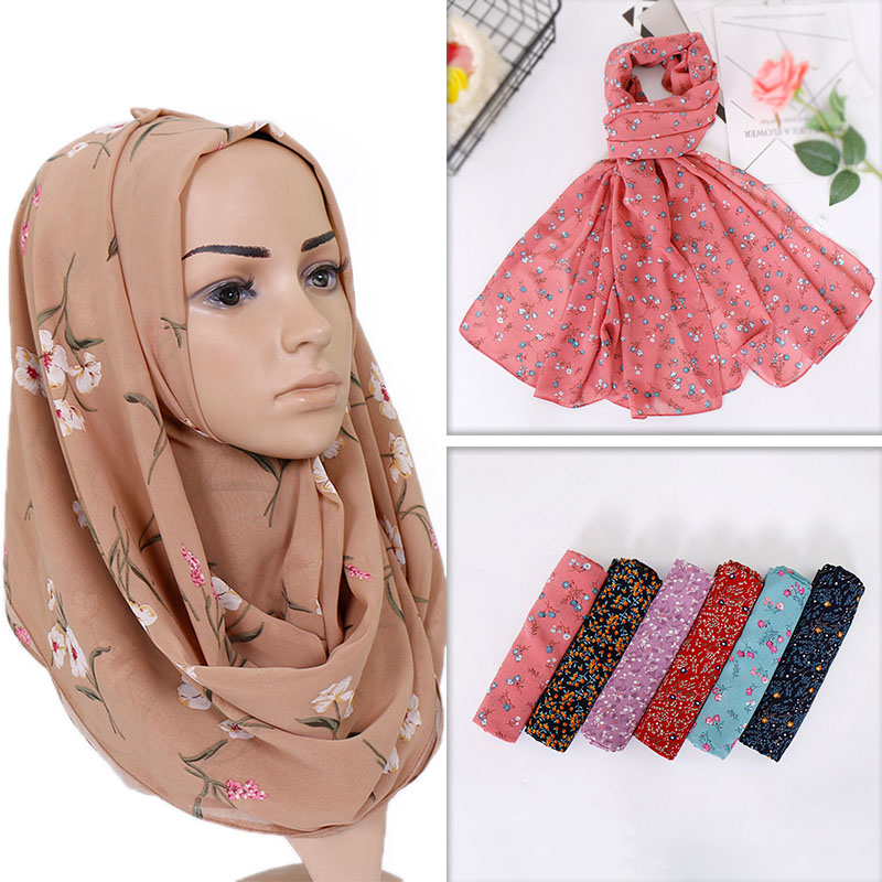 2019 Printe Chiffon Hijab Scarf Design Flower Shawls Muslim Scarves Headscarf  Wraps Turbans Headband Long Scarves 10pcs/lot