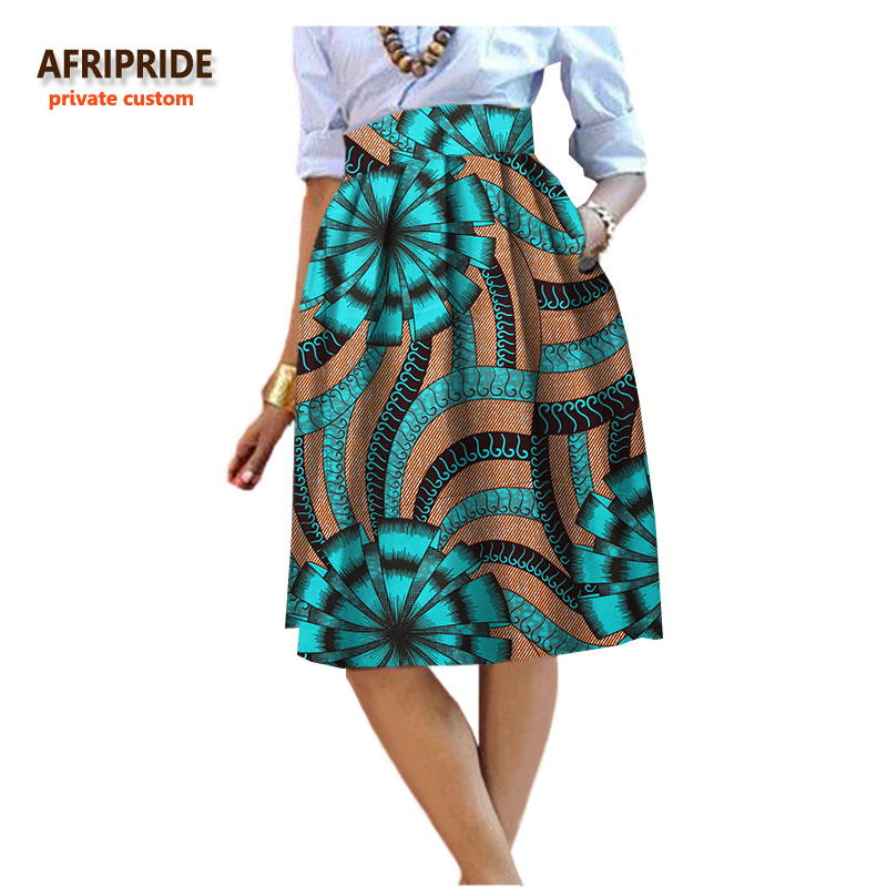 2017 summer Original african style garment midi skirt for women private custom high quality batik cotton femmal clothing A722704