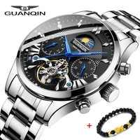 Reloj de marca de lujo GUANQIN relojes de hombre natación reloj mecánico automático reloj de oro hombre acero inoxidable impermeable