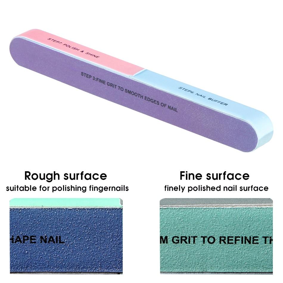 ROHWXY 3Pcs Six-sided Polishing File Nail Tool Block Sanding Pedicure Nail File Sanding Professional Nail File Cuticle Pusher 4