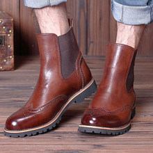 British Mens Leather Slip On Brogue Wingtip Martin Boots Casual Winter Fur Formal Dress Shoes Bussiness Oxfords