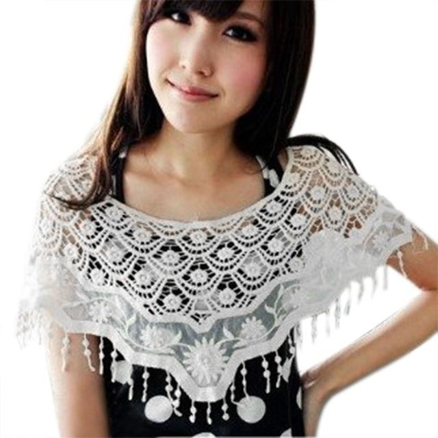Aliexpress.com: Comprar Mujeres dulce Crochet Capelet Ahuecado ...