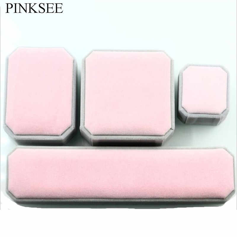 PINKSEE Trendy Pink And Grey Velvet Luxury Jewelry Box For Rings Dangles Bracelets Necklaces Girls Women Gifts Accessories