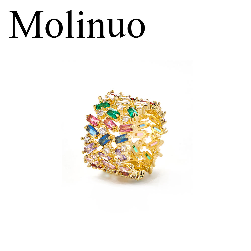 Top new Fashion AAA cubic zircon multi-layered Baguette wide ring various colored rainbow cz jewelry for women gift gold color