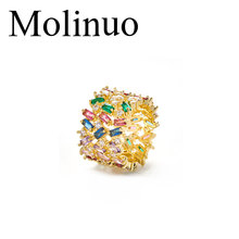 Top new Fashion AAA cubic zircon multi-layered Baguette wide ring various colored rainbow cz jewelry for women gift gold color chic colored rhinestoned layered bracelet for women
