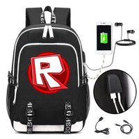 ROBLOX Backpack With USB Charging Port And Lock Headphone Interface For College Student Work Men Women