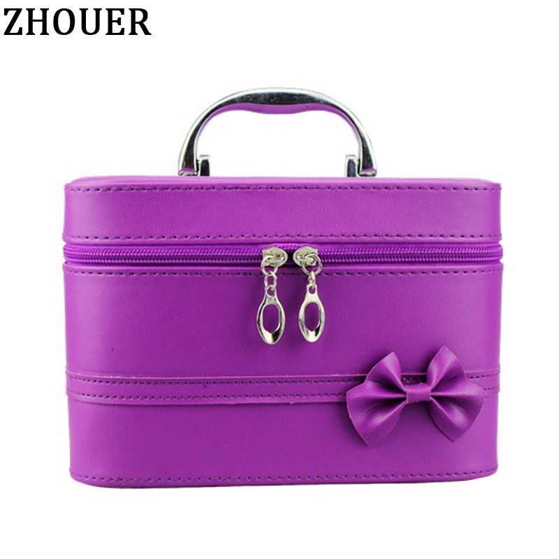 Bow Style Woman Leather Cosmetic Bags Handbag Necessary ...