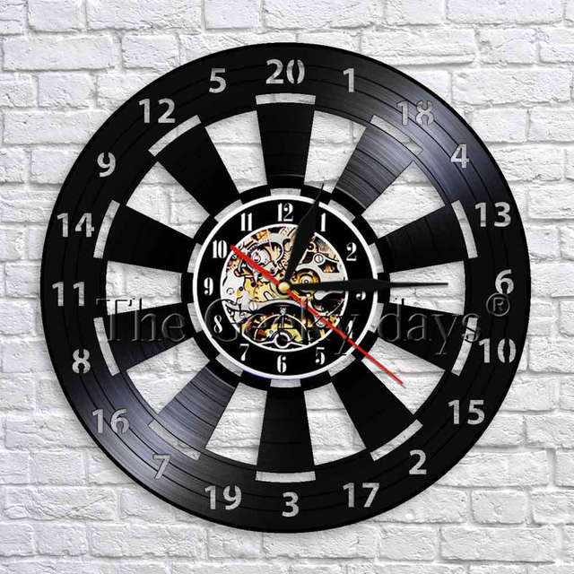 1piece darts board wall clock game room decoration black hanging 3d