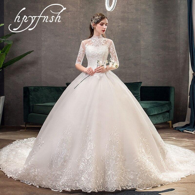 New Vestido De Noiva Half Sleeve Royal Train Wedding Dress High Neck Applique Lace Ball Gown Bridal Bride Dress Robe De Mariee