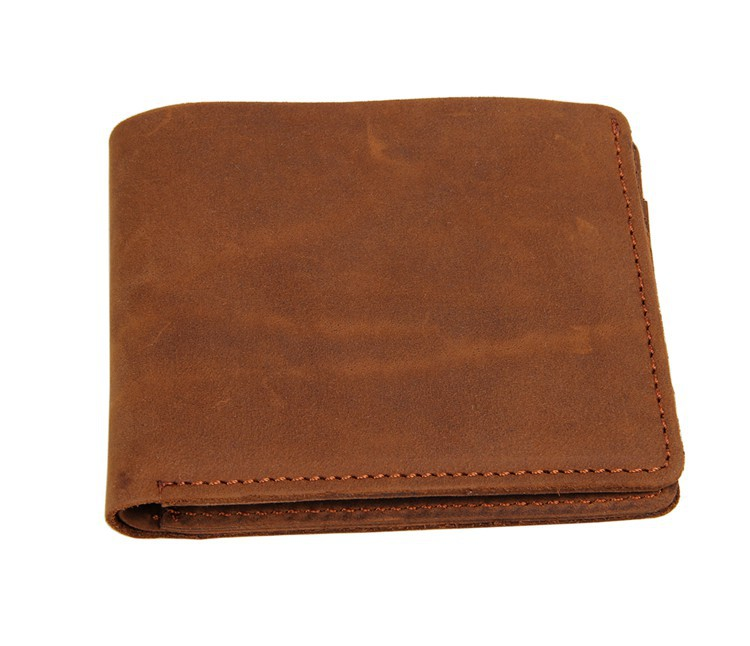 Nesitu High Quality Vintage Brown 100 Guarantee Genuine Leather Crazy Horse Leather Men Wallets Cowhide Card