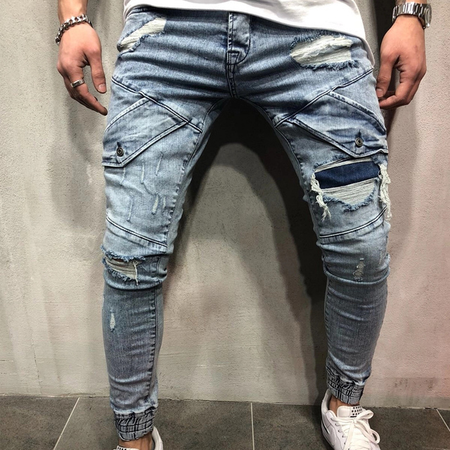 b506e10e916d23 HZIJUE 2019 Ripped blue Jeans For Men Hip Hop Skinny Men Stretch package Jeans  Designer Brand Fashion Slim Fit Dropshipping