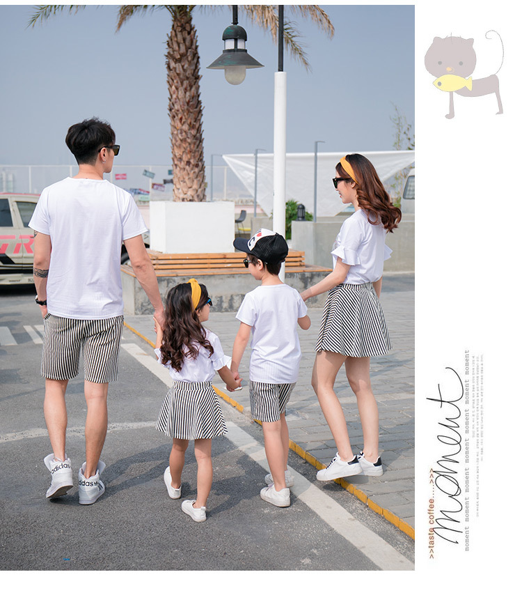 HTB1NAMObtcnBKNjSZR0q6AFqFXa7 - Fashion Summer Family Matching Outfits White V Neck T - Shirt With Stripes Shorts/Skirts Mother Dad Son Daughter Clothes Sets