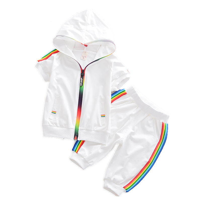 Fashion Kids Boy Girl Clothes Sportswear Summer Baby Colorful Hoodies Shorts 2Pcs/sets Children Outfit Toddler Cotton Tracksutis(China)