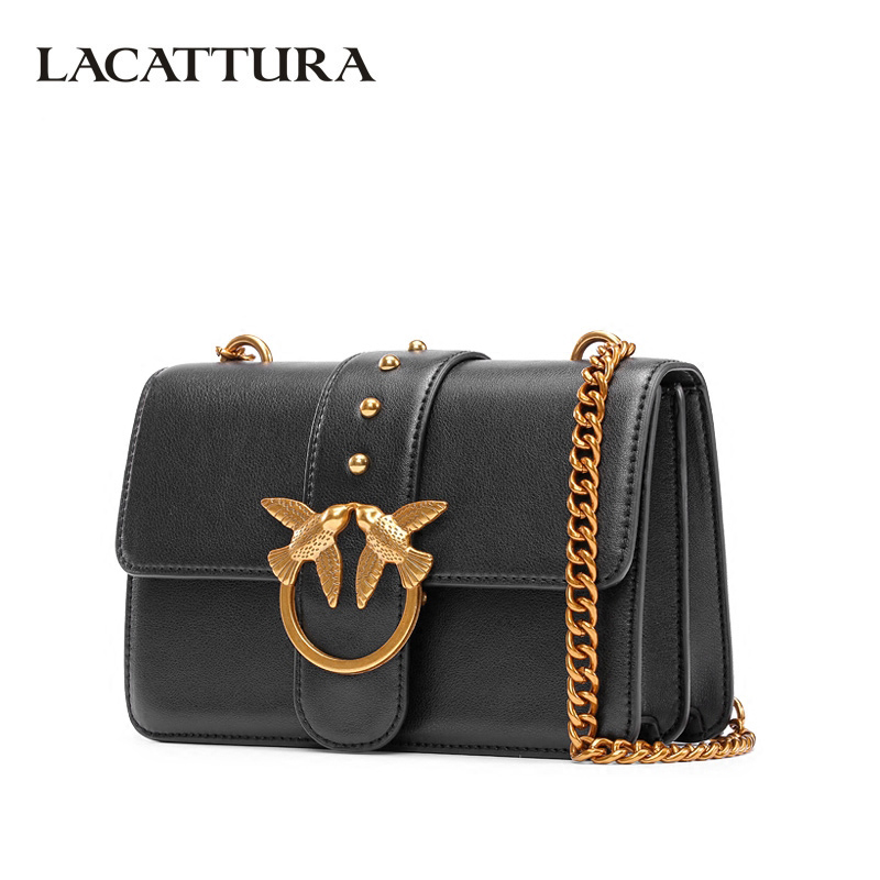 LACATTURA Luxury Flap Handbag Women Designer Leather Chain Shoulder Bag Bird Buckle Fashion Messenger Bags Small Clutch lacattura small bag women messenger bags split leather handbag lady tassels chain shoulder bag crossbody for girls summer colors