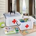 Plástico Transparente 2 Camadas de Saúde Kit de Primeiros Socorros caixa de Armazenamento Caixa De Pílula Medicina Peito