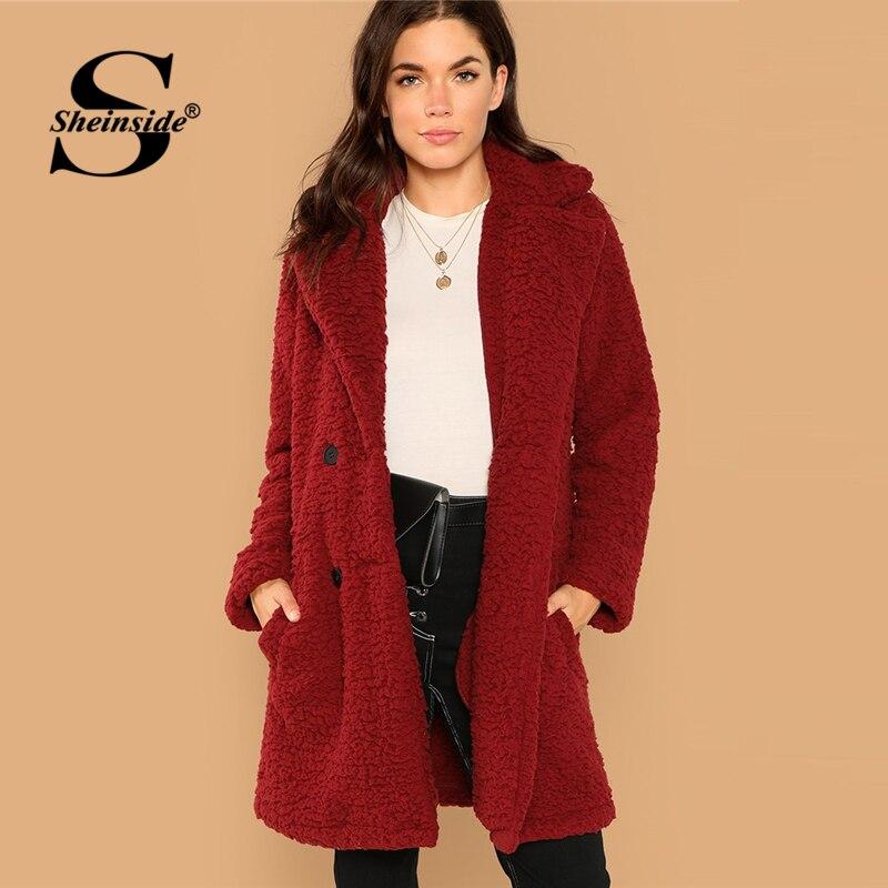 Sheinside Winter Fleece Jacket Women Teddy Coat 2018 ...