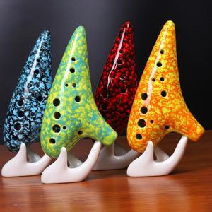 SLADE 12 Holes Ceramic Ocarina Alto C AC Tone Zelda Flute Musical Orff Woodwind Instrument With Cotton Bag Gift