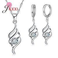 JEXXI Women Crystal Pendants Necklace Earring Set For Engagement 925 Sterling Silver Cubic Zircon Bridal Wedding