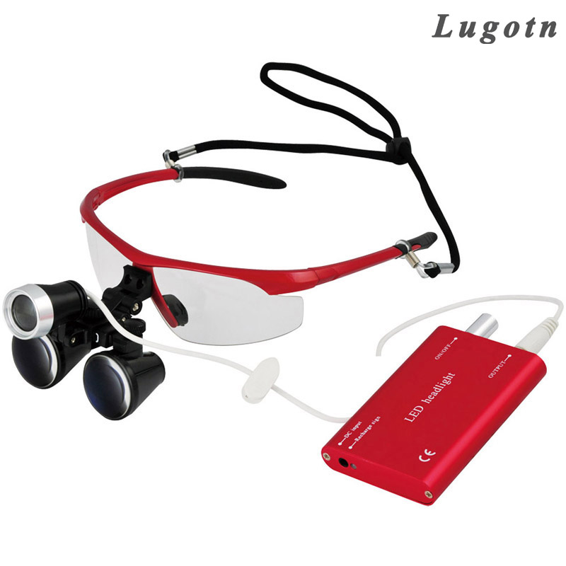 2.5X magnification dental operator loupe with led promotion price antifog optical glass surgical doctor surgery magnifier 3 5x magnification antifog medical enlarger lens surgery surgical magnifier with led light oral dental headlight operation loupe