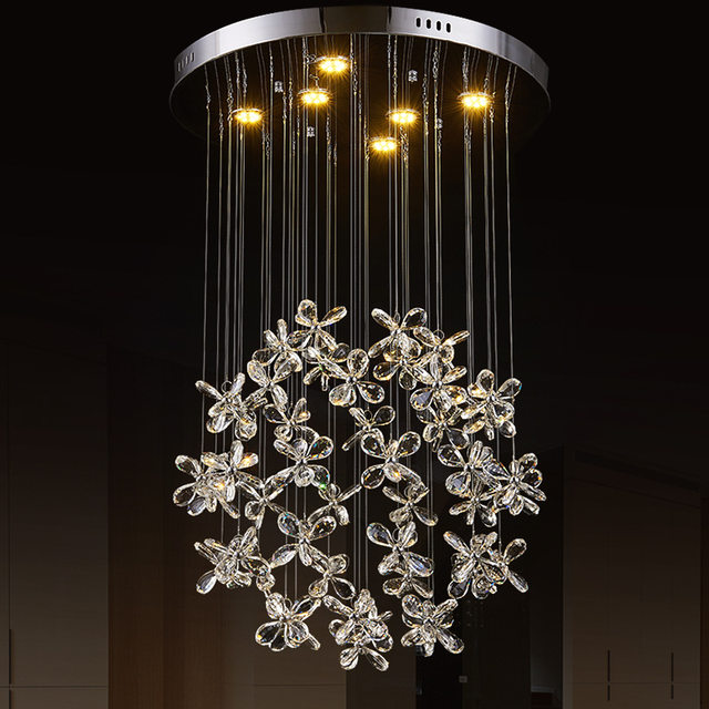 Led Erfly Crystal Chandelier Flower Petals Art Lamp Pendant House Dining Room Deco