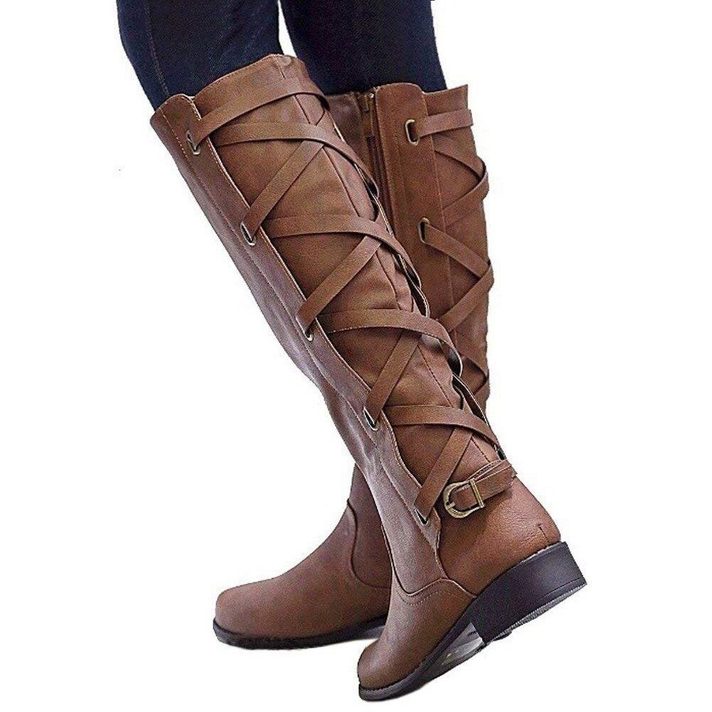 Tallas Botas Hasta Grandes Rodilla De Encaje 2018 Alta Zapatos Mujeres La Mujer 43 Cuero Negro Invierno Doratasia Motocicleta 34 apricot Tacón marrón Bajo Pu Tiras vq85Eaxww