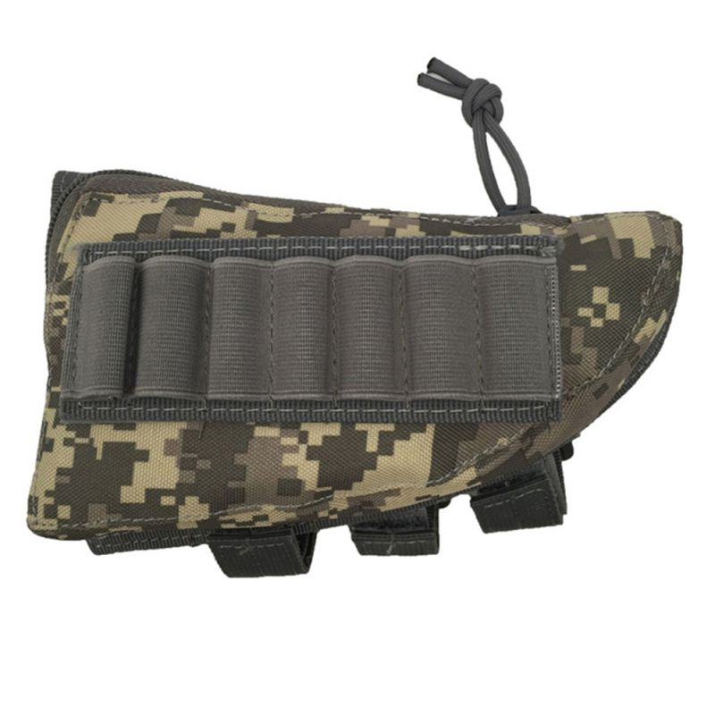 Military Airsoft Paintball CS War Game 600D Rifle Stock Ammo Portable Pouch with Cheek Leather Pad for Hunting Sports 5 Colors