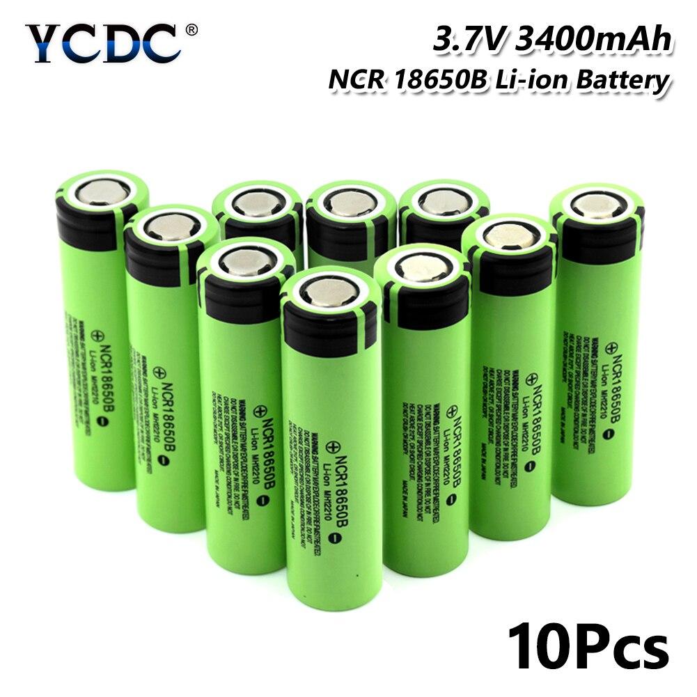 NCR 18650B batterie 3.7 V 3400 mAh cellule Rechargeable pour batterie externe torche 10 pièces pour stylo Laser lampe de poche LED support de batterie