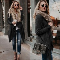BKLD 2018 Autumn Winter New Women Long Sleeve Knitted Sweater Casual Solid Faux Fur Collar Cardigans Sweaters Women