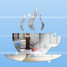 Gran Espejo de Pared Pegatinas Decoración Para El Hogar 3D Reloj de Pared de Moda Sala de estar Decoración Relojes De Cuarzo