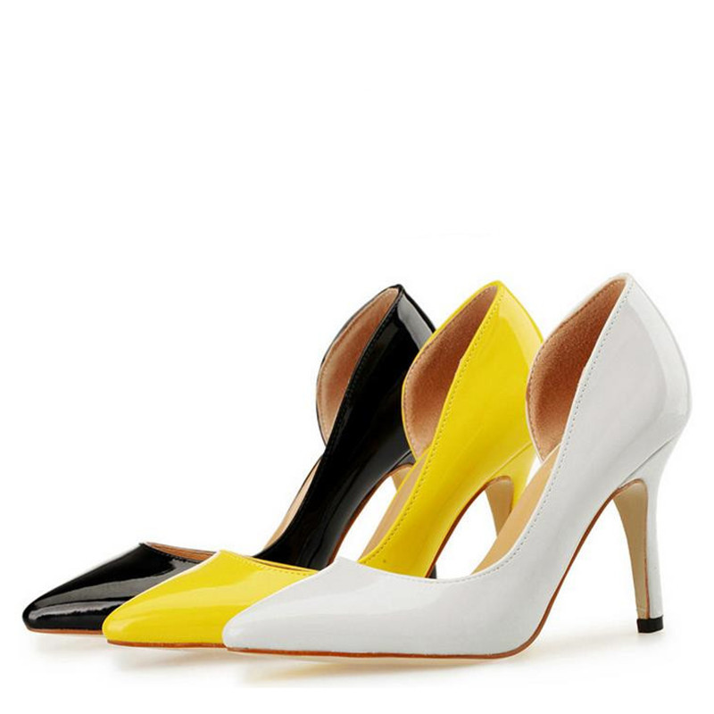 font b Women b font elegant prom party warm yellow white black patent leather pointed