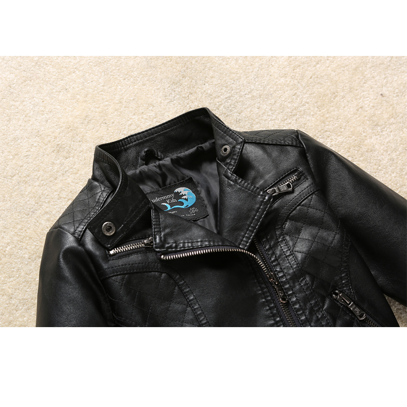 760634a6 Leather Jacket for Boy Girl Coat Black Warm Fall Winter Jackets for 3 4 5 6